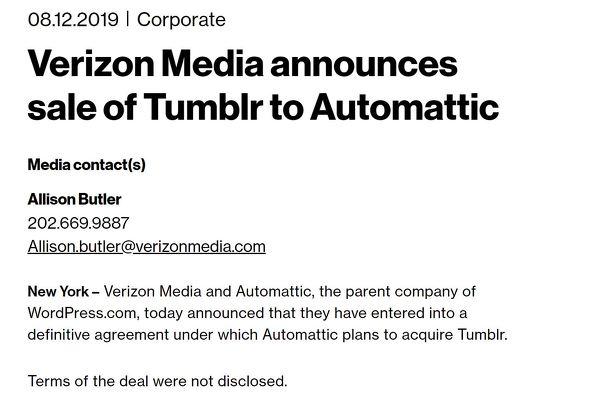 WordPress.comの運営会社、TumblrをVerizon Mediaから買収