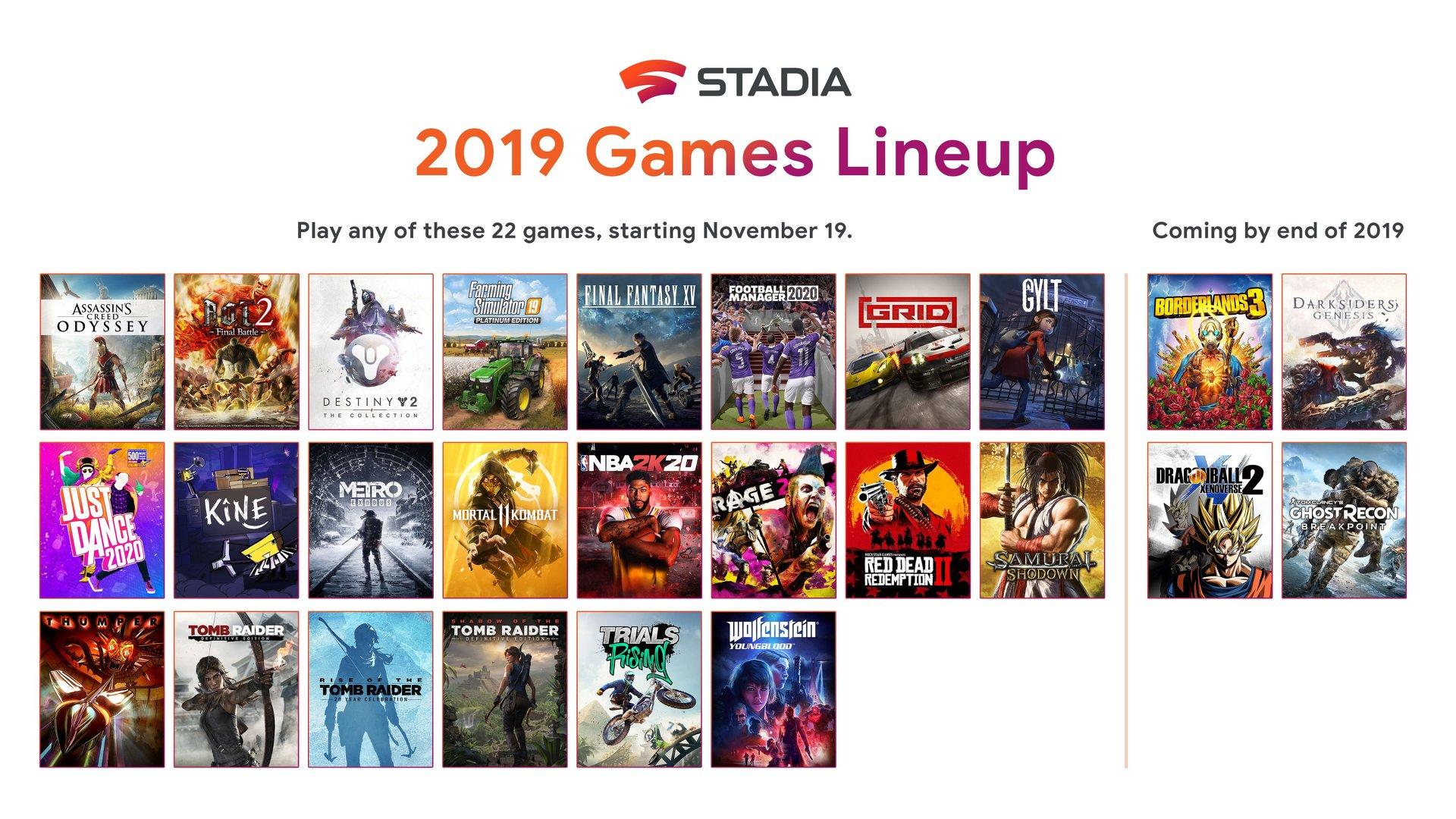 Googleのゲームストリーミング「Stadia」、11月19日に22タイトルでスタート