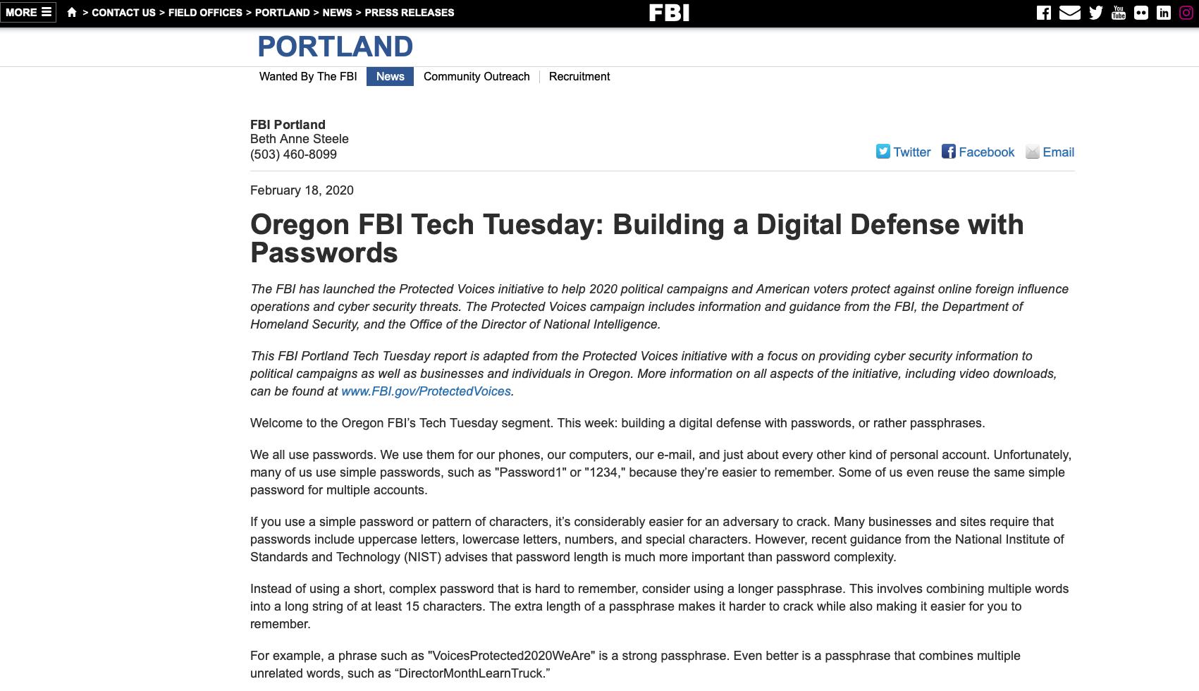 「パスワードは複雑さより長さが大切」 FBIが指南