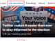 Twitter、「話題を検索」に「米選挙」タブ追加 正しい情報提供で投票を支援