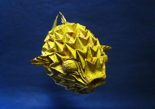 すべての折り紙 上級者 折り紙 : Origami Puffer Fish