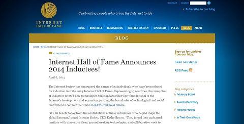 �摜�iInternet Hall of Fame Announces 2014 Inductees!�j