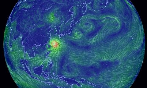 風向や風速を可視化したサイトで見る「台風第8号」に唖然
