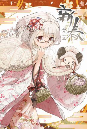 日本郵便が年賀状テンプレとしてヒツジ女の子の萌えイラストを配布