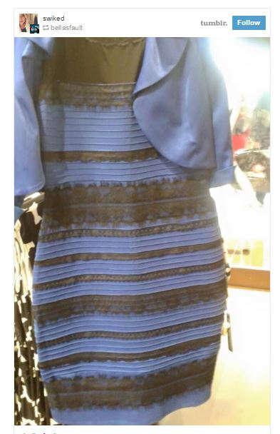 「青と黒」か「白と金」に見える例のドレス