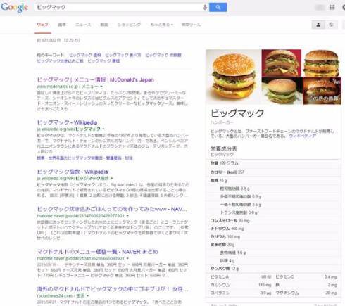 グーグル検索カロリー
