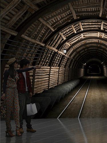 採炭現場への道
