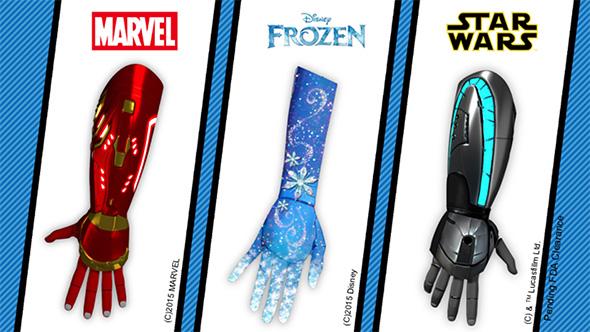 アイアンマン、スター・ウォーズ、アナと雪の女王をモチーフにしたバイオニックアーム