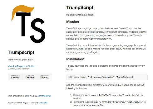 トランプ氏がプログラミング言語に トランプ氏をイメージした保守的すぎるプログラミング言語「Tru