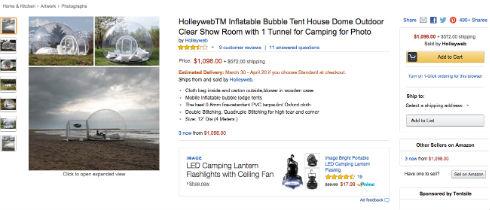 Amazonに透明テント
