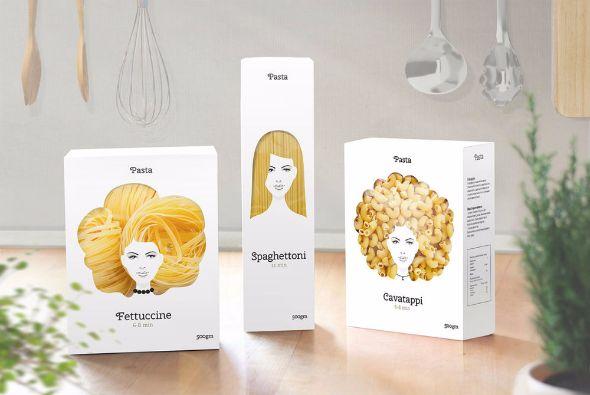 髪型に見えるパスタのパッケージデザイン