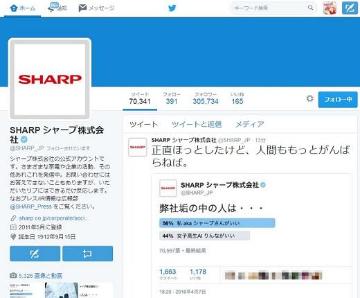 シャープ公式Twitter