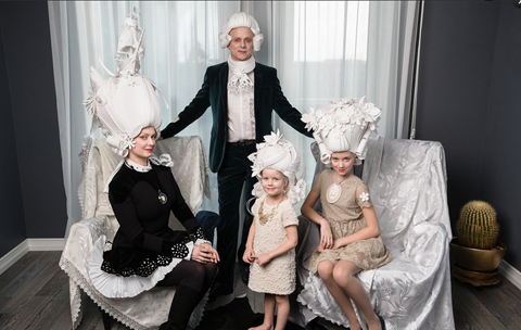 ペーパーウィッグ家族写真