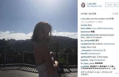 水原希子Instagram逆光でのバスタオル姿