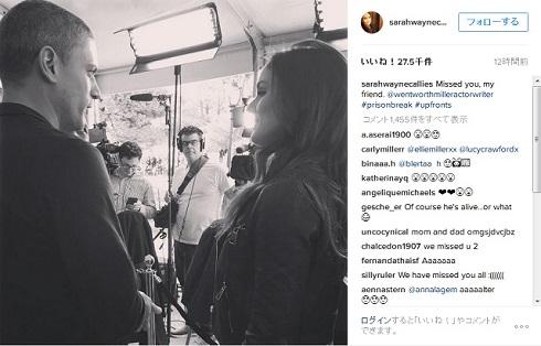 サラ・ウェイン・キャリーズがInstagramに投稿したプリズンブレイク最新作の撮影現場