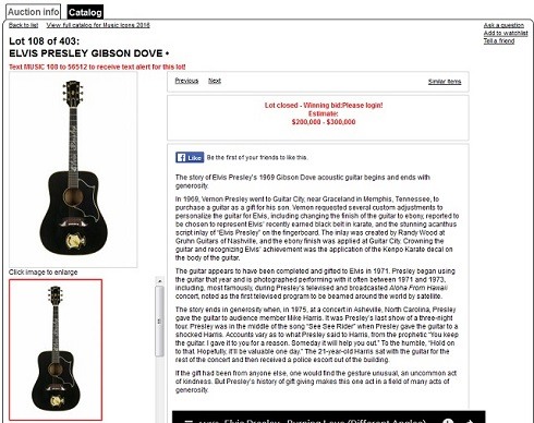 落札されたエルヴィス・プレスリーのギター