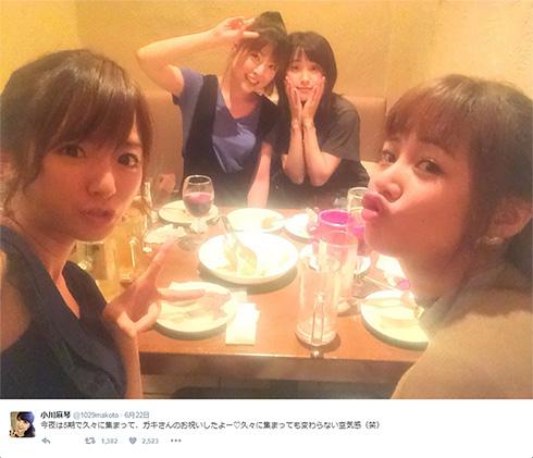 結婚報告した新垣さんを祝うモー娘。5期メンバー