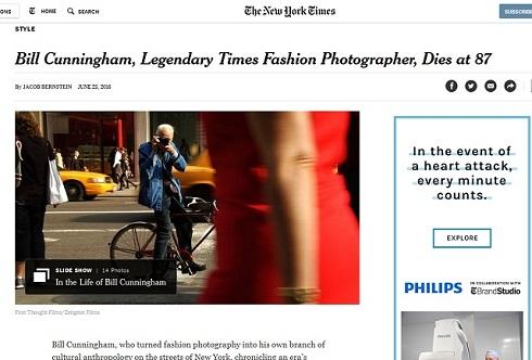 ビル・カニンガムの訃報を報せるThe New York Times紙