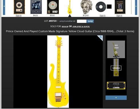 落札されたプリンスのギター