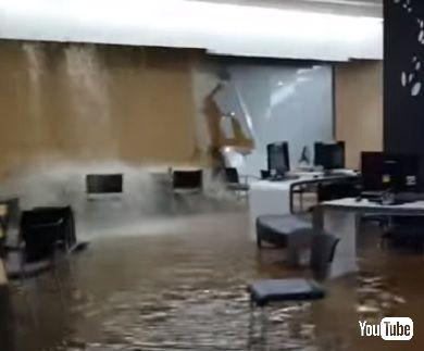 韓国延世大学で圧倒的雨漏り