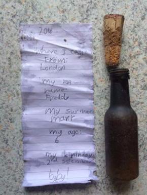ロンドンからのボトルメールがデンマークで発見