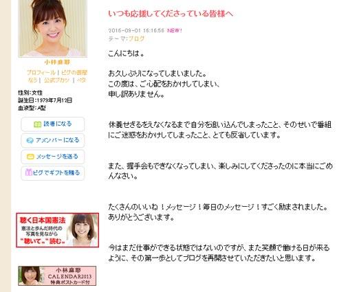 小林麻耶 ブログ再開