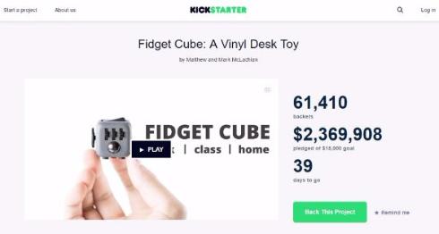 クラウドファンディング サイコロ fidget cube
