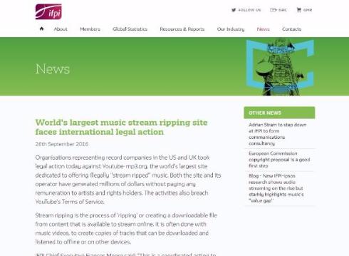 音楽 違法コピー サイト 訴え リッピング Youtube-mp3.org IFPI