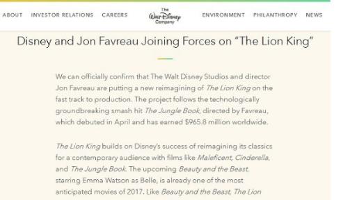 「ライオン・キング」の実写化をディズニーが発表