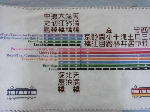刺繍 京阪 電車 路線図