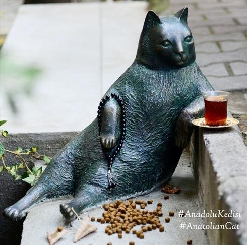 ハチ公先輩に負けじと街を見守るニャン! トルコの名物猫、銅像になる