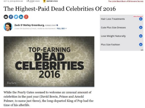 Forbes「故人セレブ年収ランキング2016」