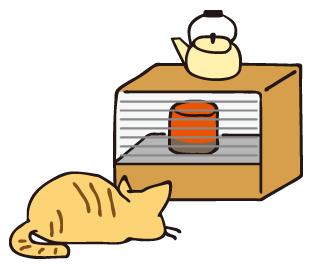 ストーブを待つ猫