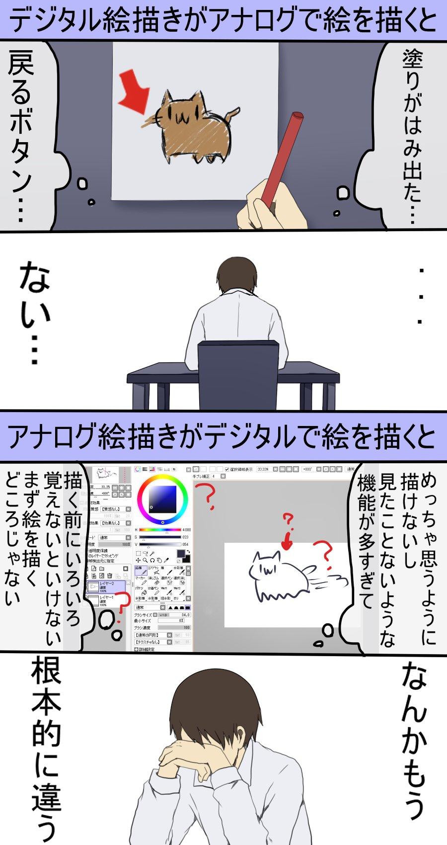 デジタルとアナログでは描き方に根本的な違い的確に示した漫画が