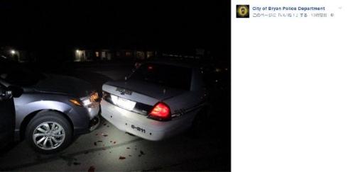 衝突されたテキサス州ブライアン市警察のパトロールカー