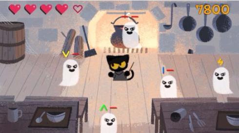 グーグル Google ハロウィーン ゲーム 猫 ゴースト スワイプ 2016