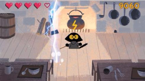 グーグル Google ハロウィン ゲーム 猫 ゴースト スワイプ 2016