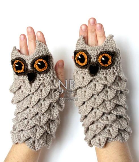 オーダーメイドのフクロウ手袋