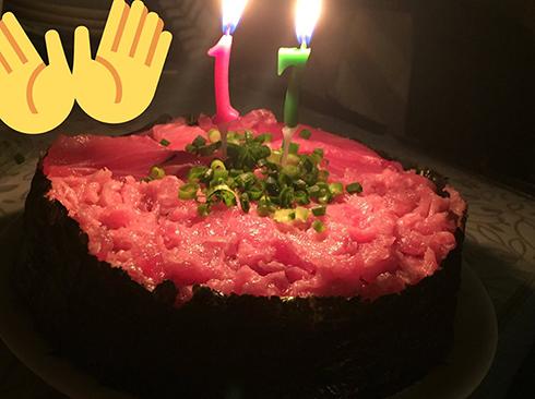 ねぎとろ軍艦ケーキ