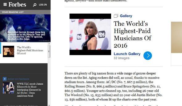 米Forbes誌による「2016年もっとも稼いだミュージシャンべスト30」