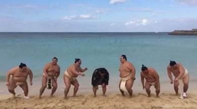 千代鳳ジャンプ動画「着地—」