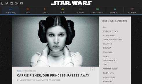 スター・ウォーズ公式サイトはキャリー・フィッシャーへ追悼コメント