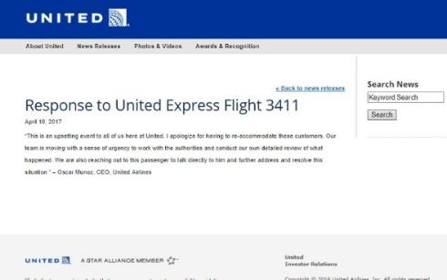 ユナイテッド航空CEOコメント