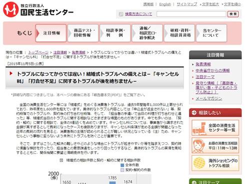 国民生活センターホームページ