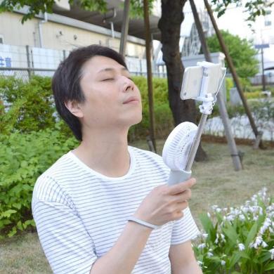 扇風機 自撮り棒 モバイルバッテリー サンコー