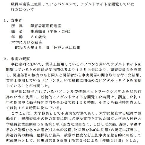 神戸大学 アダルトサイト閲覧