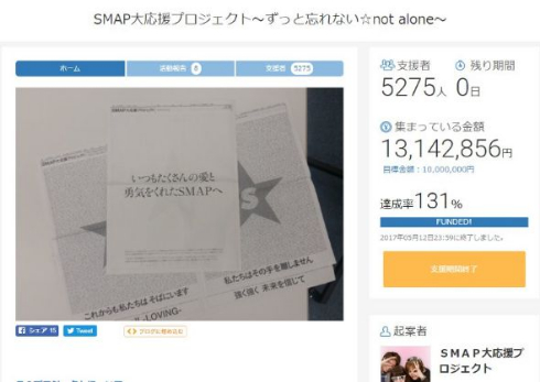 SMAP大応援プロジェクト 熊本地震 朝日新聞 クラウドファンディング
