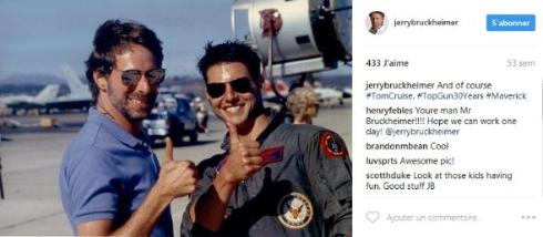 トップガン30周年記念に当時の写真を投稿するジェリー・ブラッカイマー