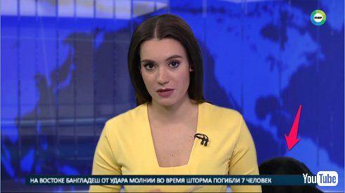 ニュース番組 犬 乱入 ロシア テレビ