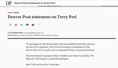 記者の人種差別ツイートにDenver Post紙が謝罪
